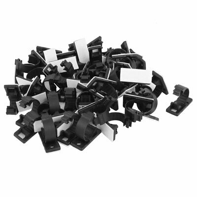 50 Pcs 16mmx37mm White Adhesive Backed Nylon Wire Adjustable Cable Clips Clamps