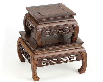 4Pc Carved Suiseki Square Table Display*rosewood*carvd Leg&texture-Pedestal
