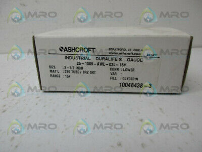 Ashcroft 25-1009-Awl-02L-15# Pressure Gauge * New In Box *