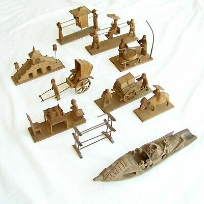 Vintage Oriental Asian Wooden Carved Miniatures and Boat