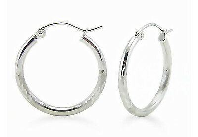 923736c323ef18 White Gold Hoops 14K White Gold Diamond Cut Two Tone Hoop Earrings 21 x 2mm