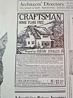 1910 CRAFTSMAN Gustav Stickley HOUSE PLANS ad Country Life in America Magazine