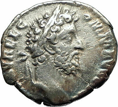 COMMODUS 192AD Rome Silver Authentic Ancient Roman Coin  Pietas w child  i76742