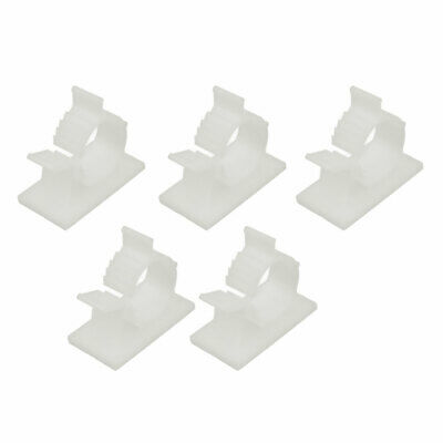 5 Pcs Self Adhesive Adjustable Wire Cable Tie Sticker Clip Off-White 22mm