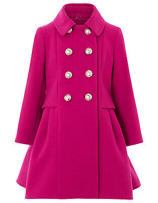 Girls Monsoon Isla Pink Victorian Fit Flare Princess Warm Coat Age 3 to 8 Years