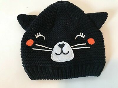 d0176a691 Carters Baby Knitted Winter Hat Kitty Cat Black Baby Girl Size 0-3 Months