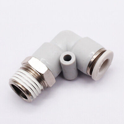 """Pneumatic Elbow Union Push In To Connect Fitting Tube OD 1//4/"""" Quick Release 5pcs"""