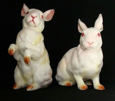 Pair of Vintage Porcelain Albino Rabbits including Free shipping