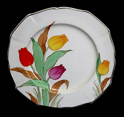 Vintage Weatherby Falcon Ware hand painted tulips art deco cake plate