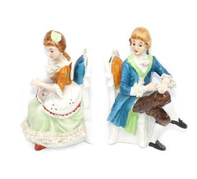 Vintage pair of French renaissance china lace lord & lady bookends