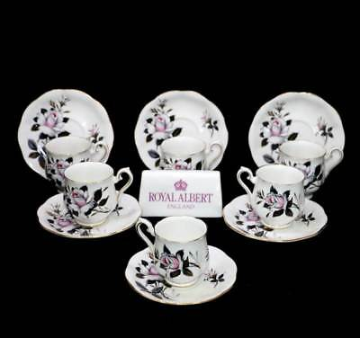 Vintage Royal Albert Queen's Messenger white roses set of 6 coffee cup & saucer