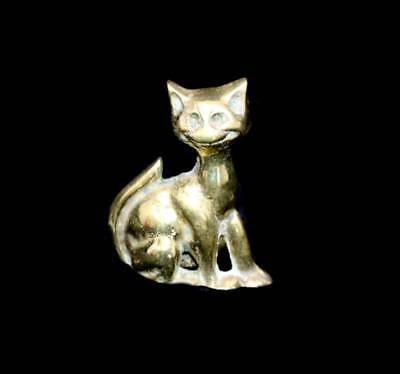 Vintage old solid brass cat figurine
