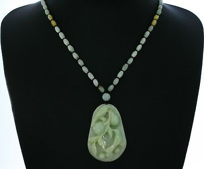 """1.9""""China Certify Grade A Nature Hisui Jadeite Jade Lucky Double Magpie Necklace"""