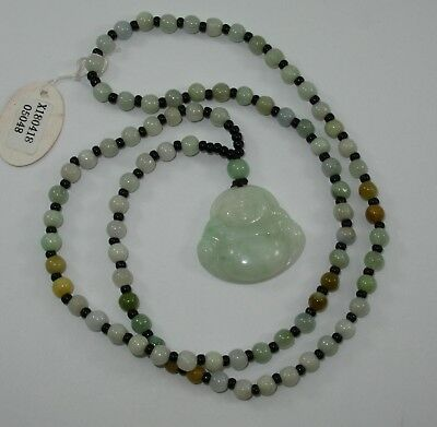 """1.2"""" China Certified Grade A Nature Hisui Jadeite Jade Blessing Buddha Necklace"""