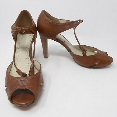 99be64f9d0e Brooks Brothers Womens Sandals Shoe Sz 9.5 Leather Brown Block 4