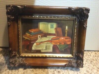 Frank Lean Original Oil Painting Still Life on Canvas Signed Framed