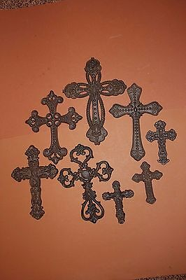 (8) Rustic Old World Style Cast Iron Mission Theme Wall Cross Decor, Leon