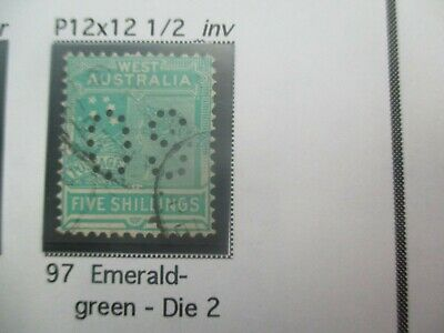Western Australia Stamps: 5/- Queen Victoria Perf OS Used   - Rare Item   (a129)