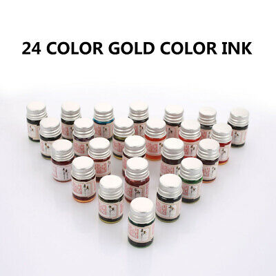 5ML 24 Color Fountain Dip Pen Ink with Glitter Powder for Writing Painting Healt