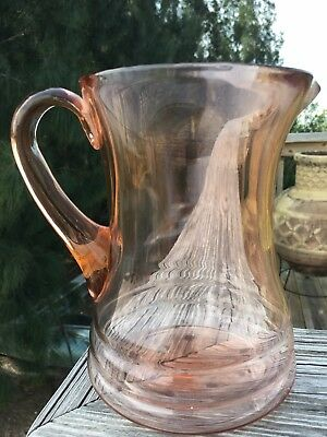 Vintage ~ Hand Blown Pink Glass Pitcher W/ applied handle 7 1/2 inches tall