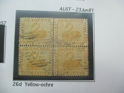 Western Australia Stamps: 1d Bistre Block of 4 Used Variety   - Rare Item (a134)