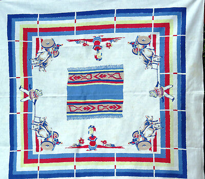 Southwestern Spanish Mexican Theme Tablecloth Oxen Gourds Tapestry Pottery VTG