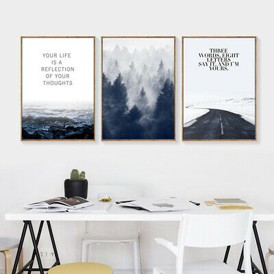 Nordic Forest Scenery Canvas Wall Painting Picture Poster Art Home Decor Filmy