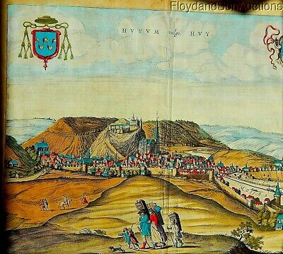 Antique 1600s Hand-Colored Stone Litho. Panoramic European Landscape Latin Text