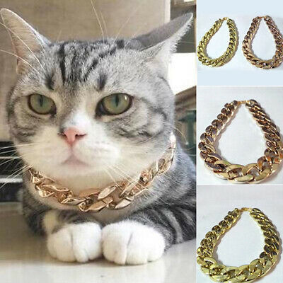 36/45cm Adjustable Dog Cat Punk Chain Collar Lead Wide Necklace Pet Accessory