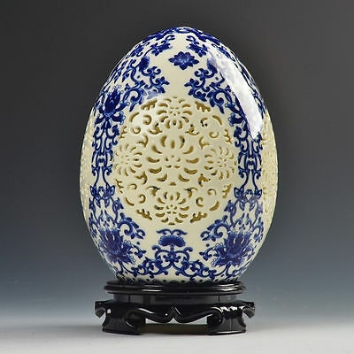 Chinese Blue and White porcelain Egg shape Openwork carving art vase