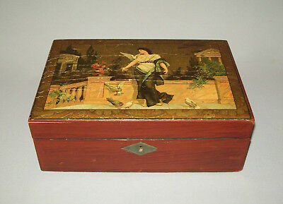 Old Antique vtg 19th C 1840s School Girl Writing Box Academy Decorated Very Nice
