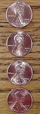 "Four 2009 Lincoln ""D"" 100 year anniversary cents  LP1, LP2, LP3, LP4"