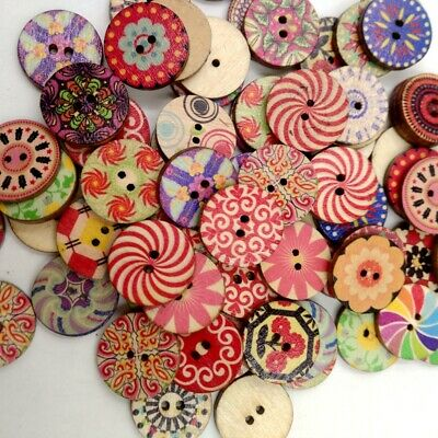 100Pcs/lot Flower Picture Wood Button 2 Holes Mix Color Apparel Sewing DIY Gift