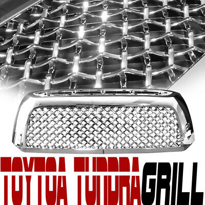 Chrome Mesh Front Hood Bumper Grill Grille Replacement For 07-09 Toyota Tundra