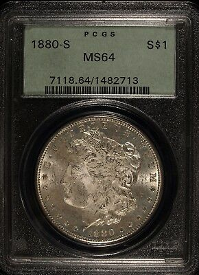 1880 S PCGS MS 64 Morgan Silver Dollar☆☆Great Details☆☆☆Satiny Surfaces
