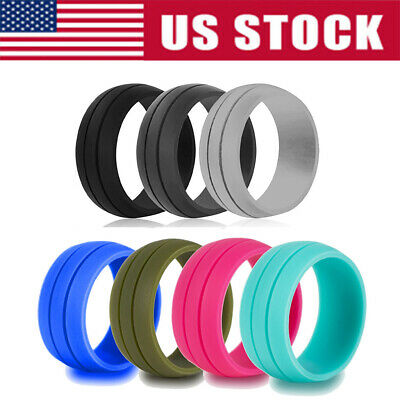 7 Pcs Silicone Wedding Engagement Ring Men Women Rubber Band Grooved Size 6-10