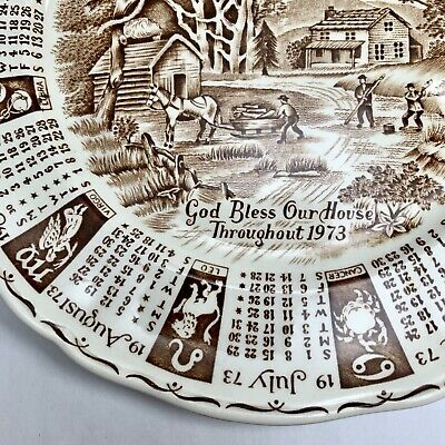 Vtg 1973 Calendar Plate, ALFRED MEAKIN Staffordshire England Brown Transferware