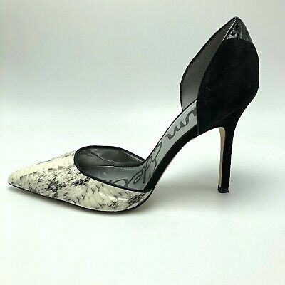 b5097bc3f Sam Edelman Womens Delilah Pumps Heels Snakeskin Black White Leather 9.5 M