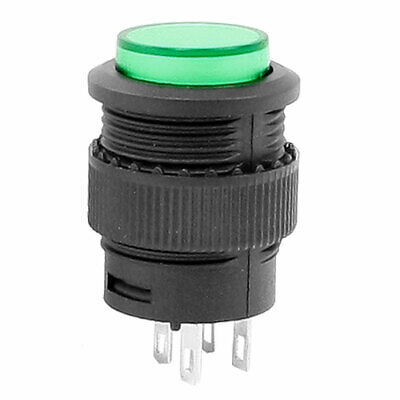 SPST Green Round 4 Terminal Momentary Push Button Switch AC 250V 1.5A 125V 3A
