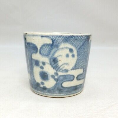 E498: Japanese really old KO-IMARI blue-and-white porcelain cup SOBA-CHOKO