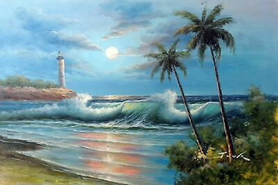 Lighthouse At Beach Full Moon Surf Waves Palm Trees Stretched 24X36 Oil Painting