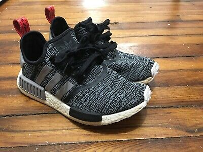 56e1e162b77 ADIDAS NMD R1 Glitch Core Black / Grey Red Mens Size SZ 8 BB2884 DS  Deadstock