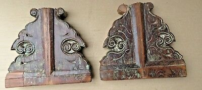 Antique Reclaim Carved Wood Corbel Corner Sconce Redefine Multi Use Wall Decor-2