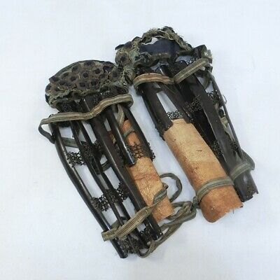 E556: REAL old Japanese SAMURAI's shin guard SUNEATE of armor YOROI in 1700's