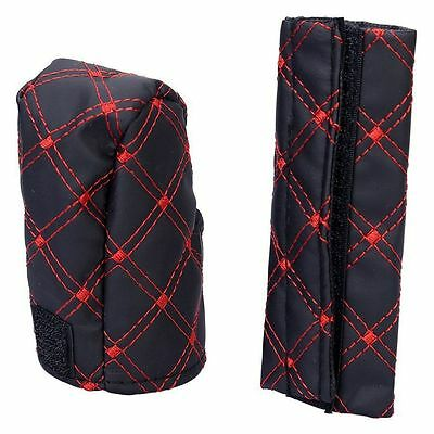 Black & Red Strap Car Case PU Leather Hand Brake Cover Gear Shift Accessories