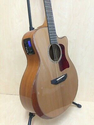 Caraya A-2016 Solid Cedar Top Electric-Acoustic Guitar w/ Beveled Armrest +Bag