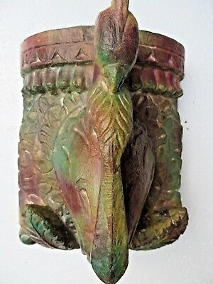 Architectural Carved Wood remanent reclaime wall decor Elephant trunk Bird 1900
