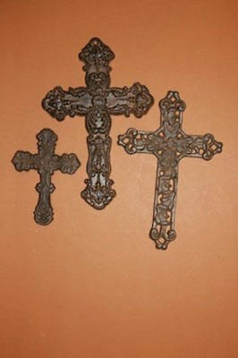 (3)pcs, RUSTIC CAST IRON CROSS WALL DECOR, CHRISTIAN HOME DECOR, FAMILY GIFT