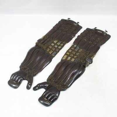 E553: REAL old Japanese SAMURAI's iron arm guard KOTE of armor YOROI in 1700's