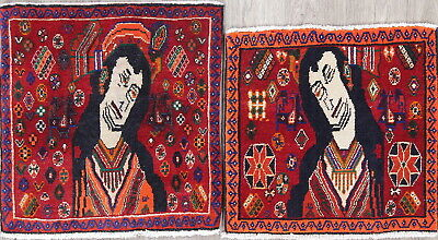 Pack Of 2 Unique Pictorial Red Abadeh Persian Hand-Knotted 2'x2' Red Square Rug